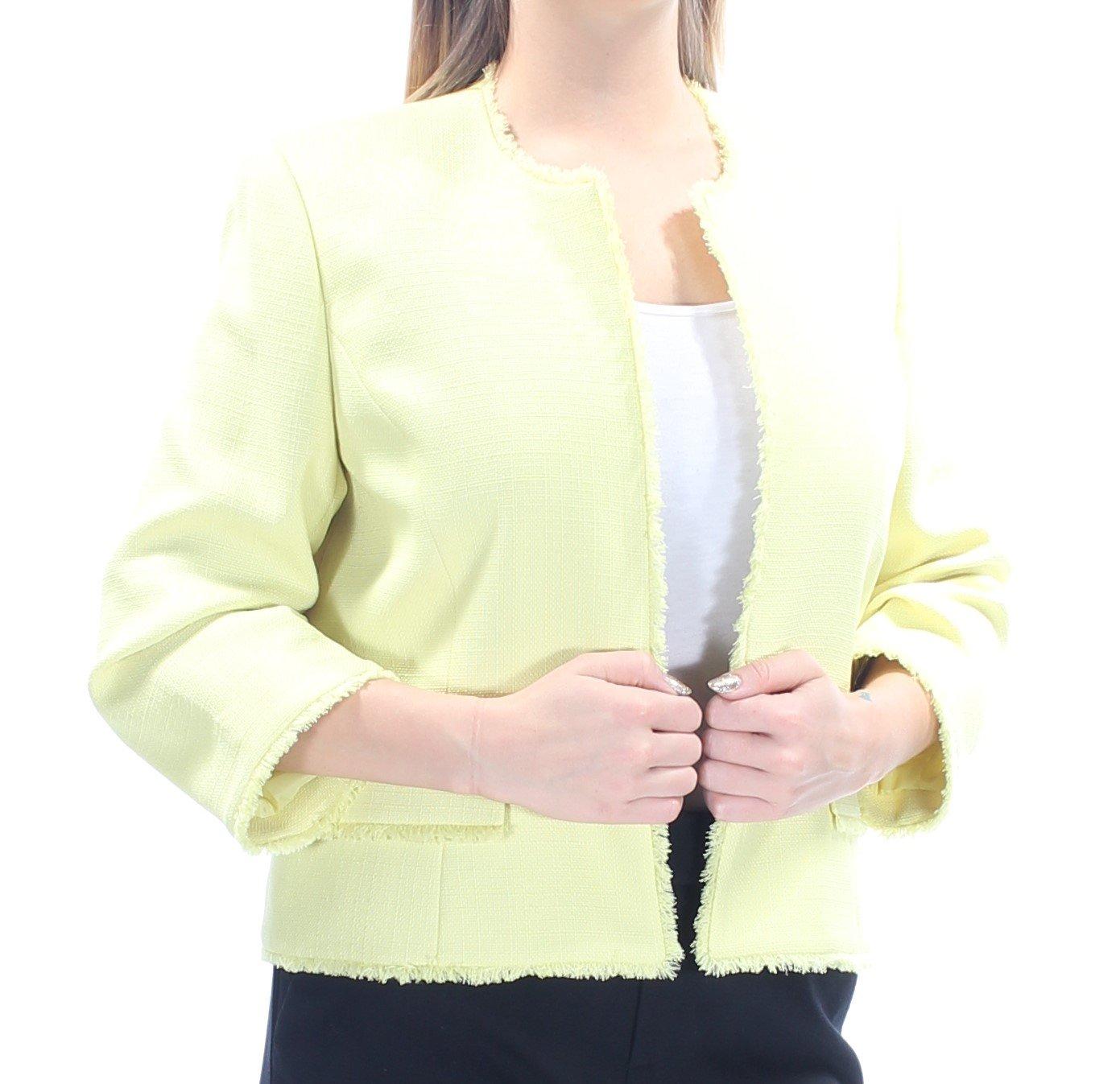 Kasper Womens Plus Capri Textured Fringe Blazer Yellow 18