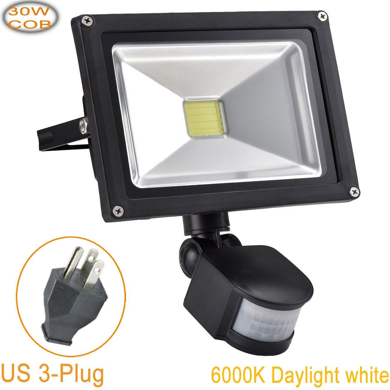 W-LITE 30W Led Motion Sensor Flood Lights Outdoor, PIR Induction Lamp, Intelligent Light, 6000K, Cool White, 240W Bulb Equivalent, 2400lm, Super Bright Waterproof Security Floodlight