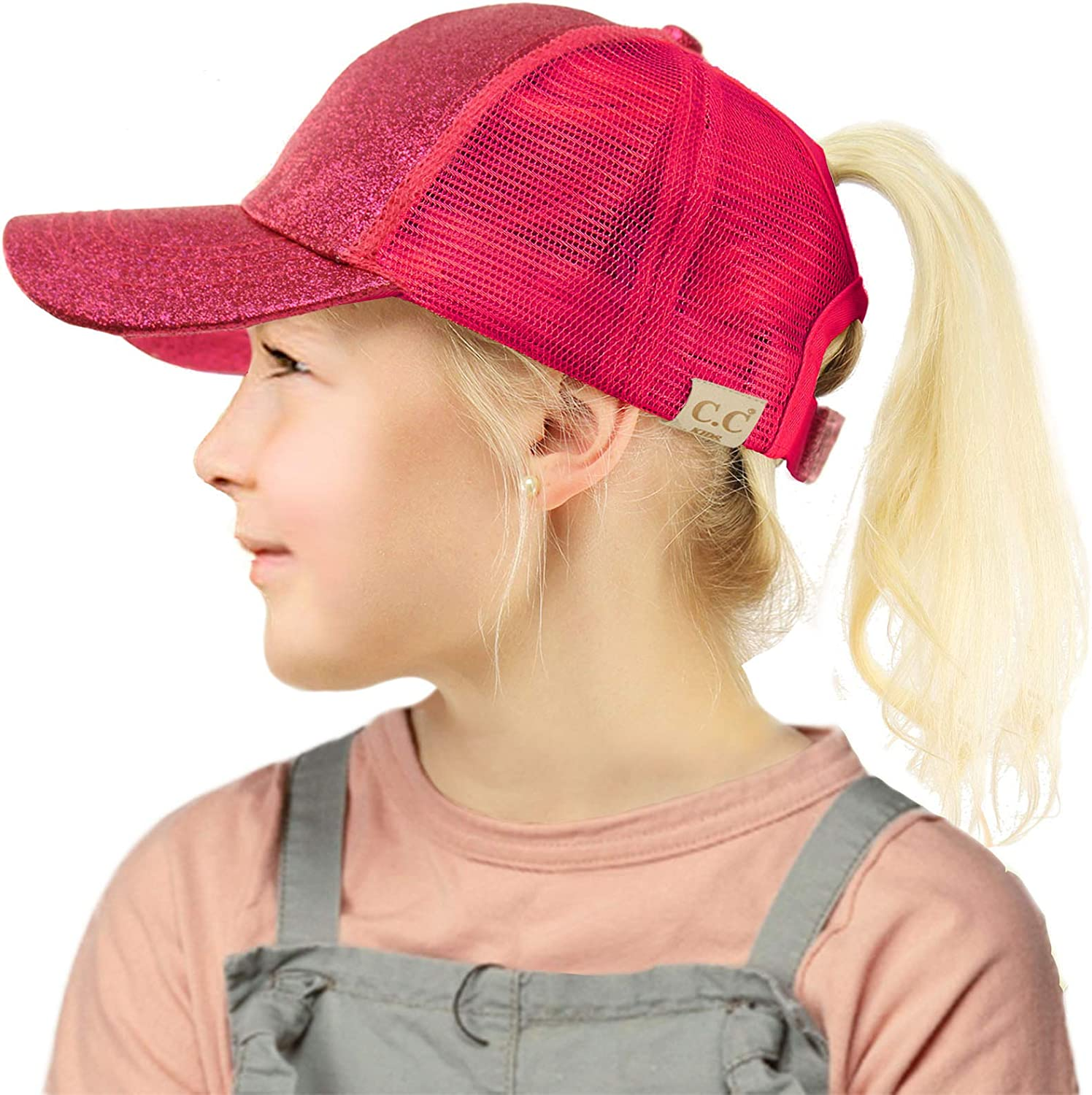 Solid Kids Hats Ponytail Baseball Vintage Washed Cotton Sun Hat for Girl Fit 1 to 3 Years