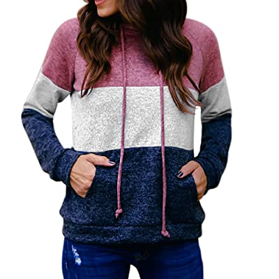 Clearance! sfe Women Pink White Blue Patchwork Color Hoodie Sweatshirt Long Sleeve With Pocket Hooded Pullover Sportwear