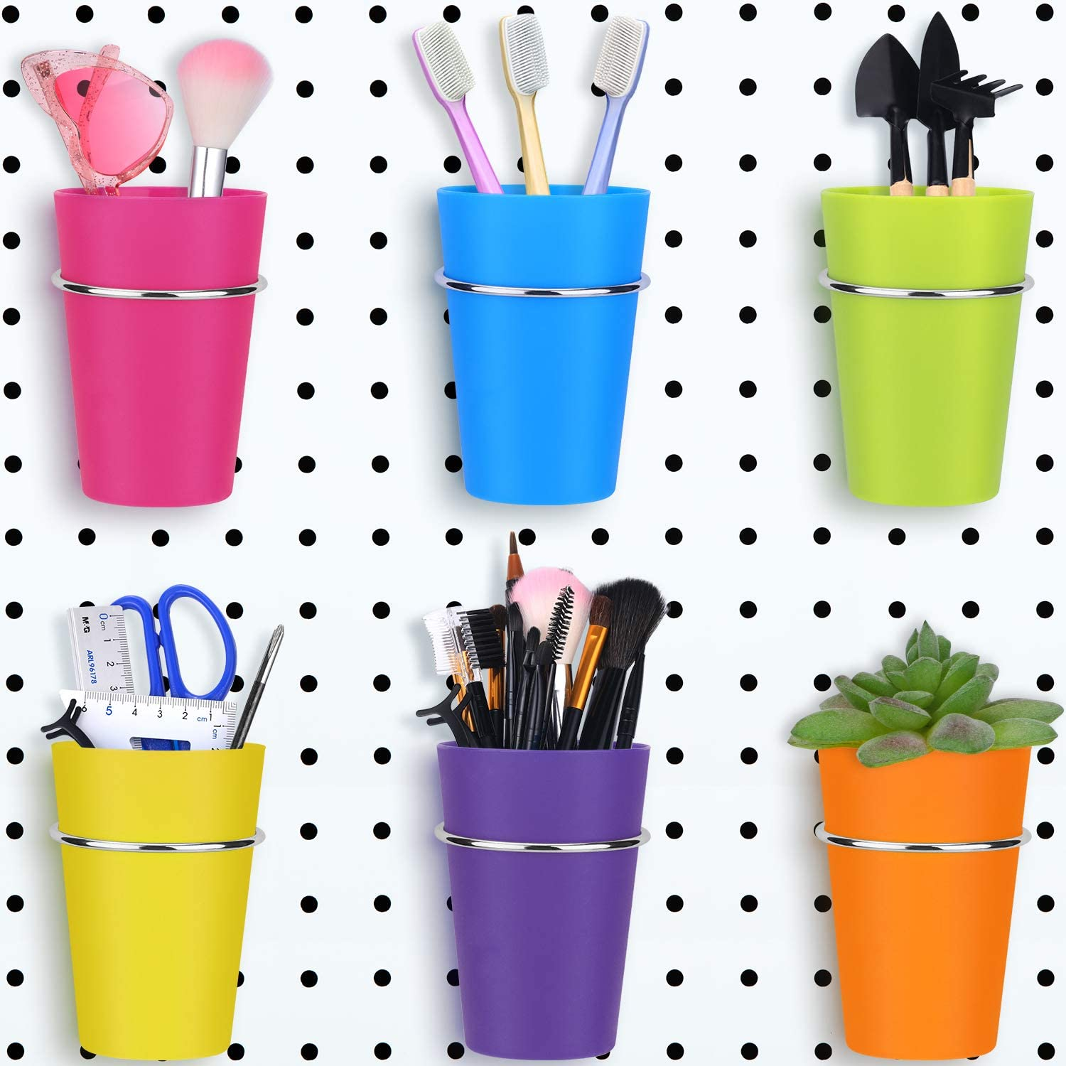 Metal Hooks Cups Holder Organizer Baskets For 4 Set Pegboard Bins With Rings