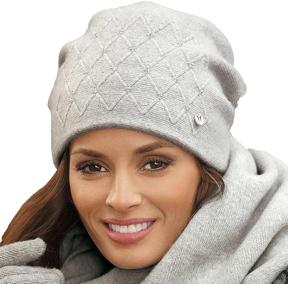 Kamea Basilia Strickm/ütze Damen Kopfbedeckung Fischgr/ätenmuster Schleife Winter EU