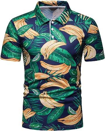GZYD Camisa Hombre Manga Corta Estampado de Banana Polo ...
