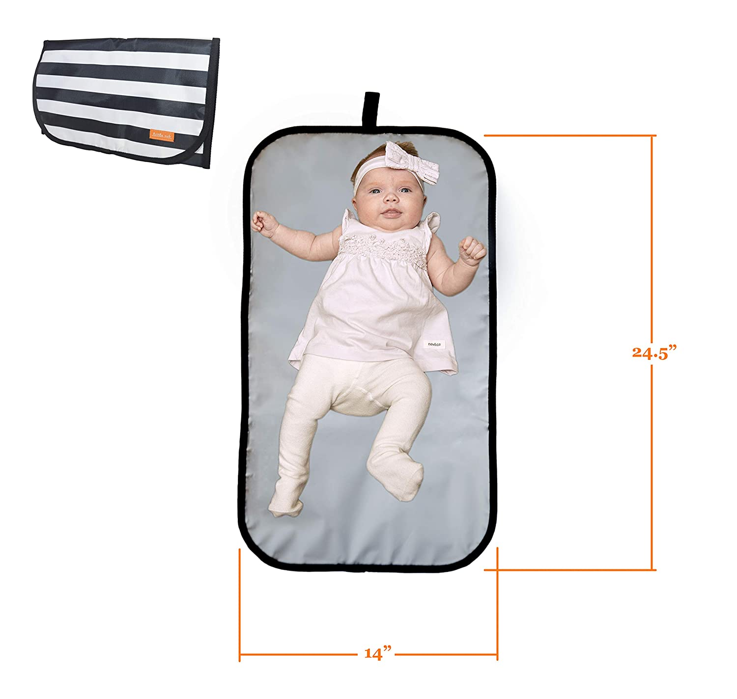 Lightweight Travel Size Foldable and Wipeable Diaper Changing Mat Includes Soft Head Pillow /& Storage Pockets -For Infants /& Baby Waterproof LITTLE CUB Portable Changing Pad /& Baby Changing Pad