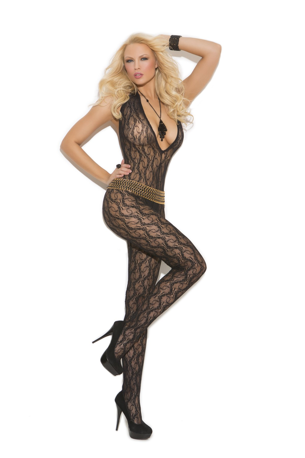 Elegant Moments Women's Deep V Lace Bodystocking with Open Crotch, Black, One Size