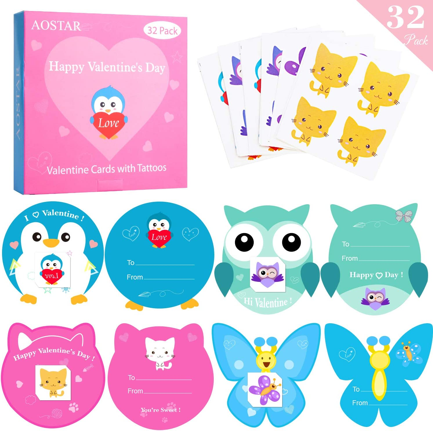 32 Set Kids Valentines Day Greeting Cards with Temporary Tattoos and Envelopes AOJOYS Valentines Cards for Kids Valentines Day Cards Pack for Classroom Exchange 32 Set Kids Valentine/'s Day Greeting Cards with Temporary Tattoos and Envelopes