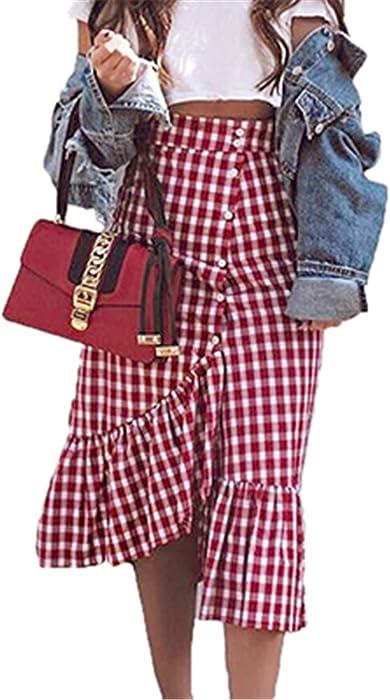 152bea4bc KennsGations Check Gingham Midi Skirt Women Red White Plaid Long Skirts  Ruffled Female Spring Summer Skirt