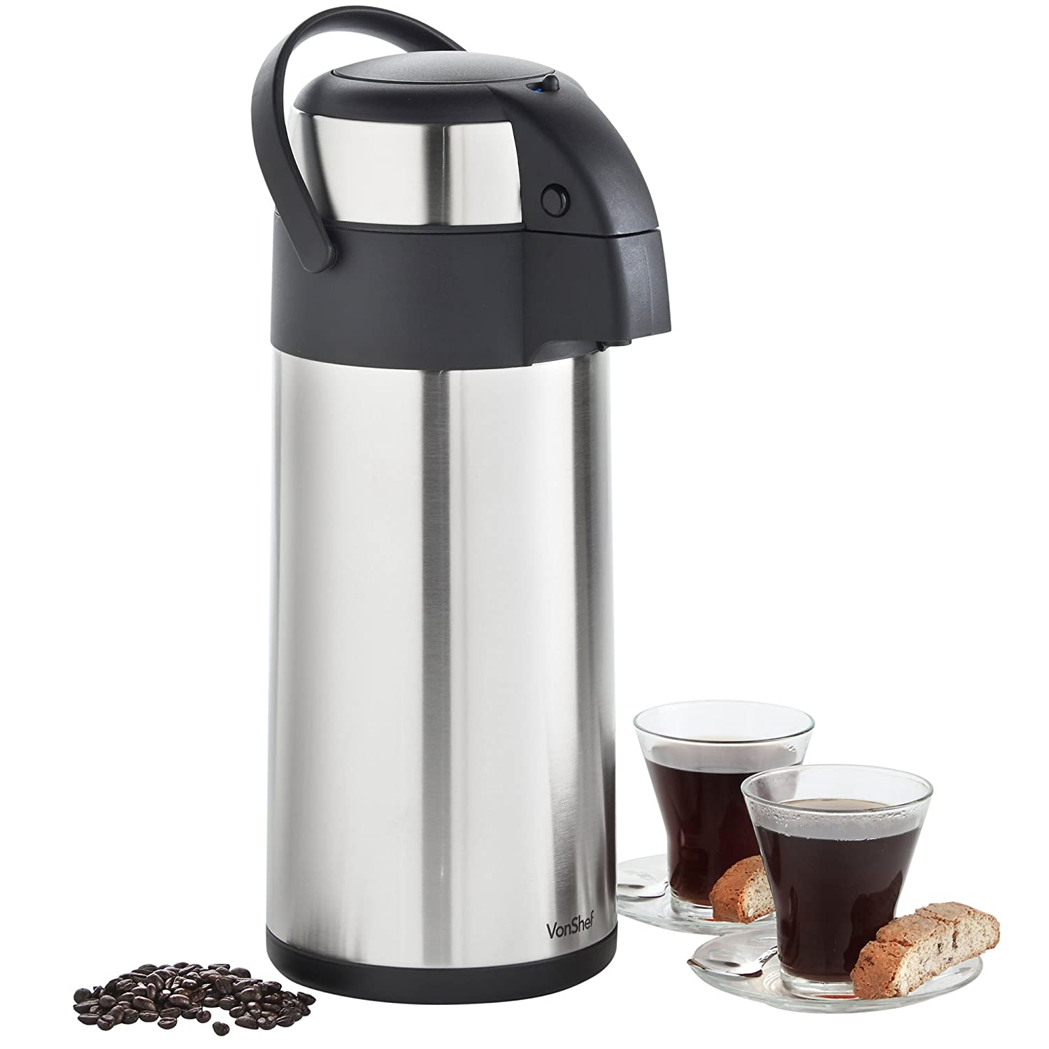 VonShef 5L Thermal Airpot Carafe Coffee Beverage Dispenser | Stainless Steel Large Air Pot 170 fl oz Capacity | Perfect for Hot or Cold Liquids