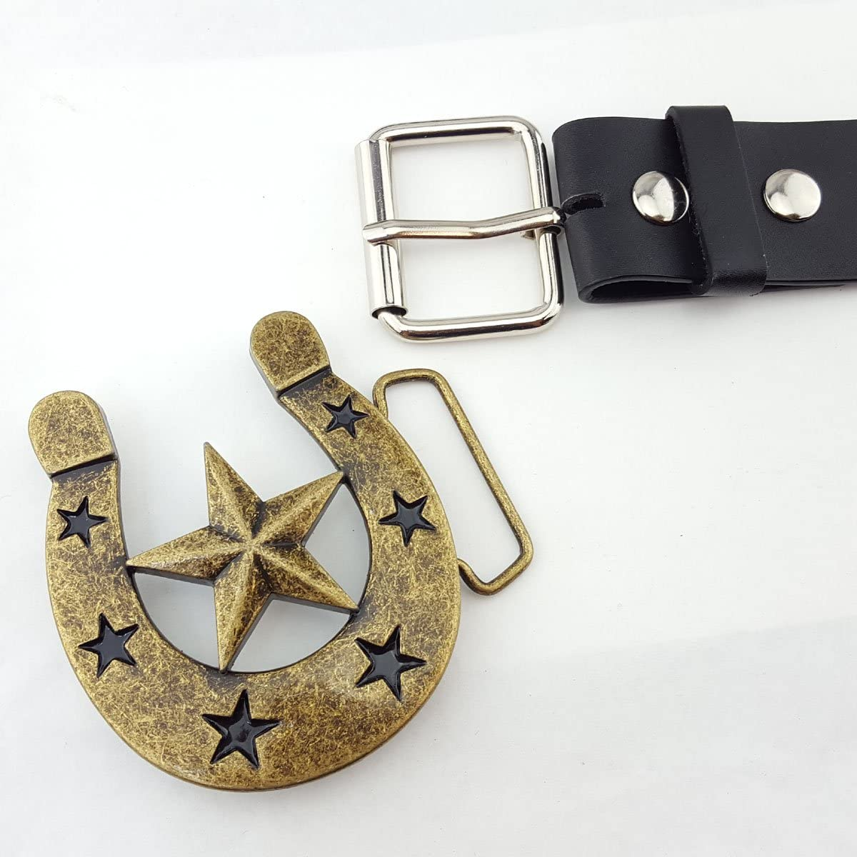 Two buckles Deal With one Interchangeable Black Belt Bling Horse Shoes