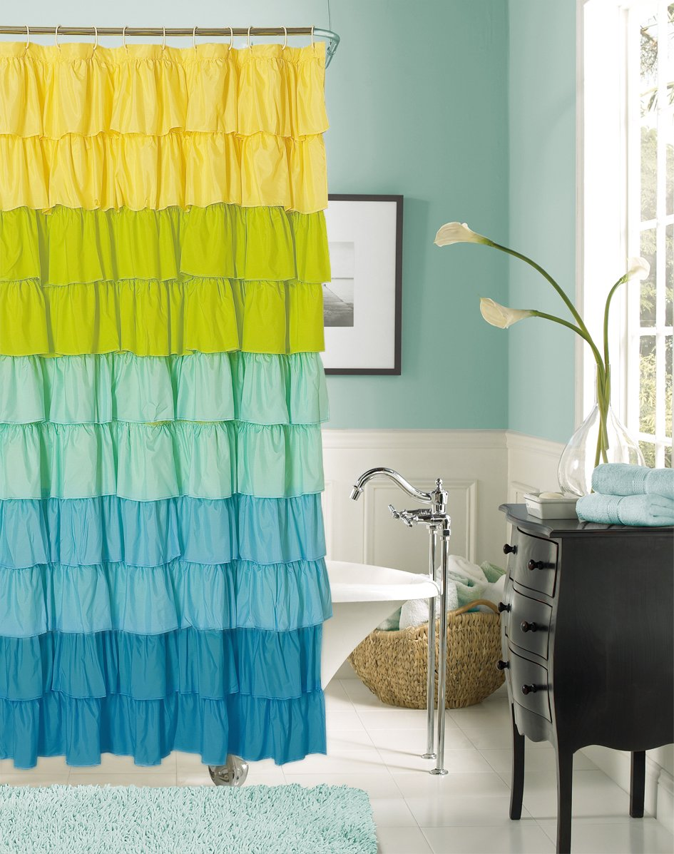 Yellow and blue shower curtain - Amazon Com Dainty Home Flamenco Ruffled Shower Curtain 72 By 72 Inch Black White Home Kitchen
