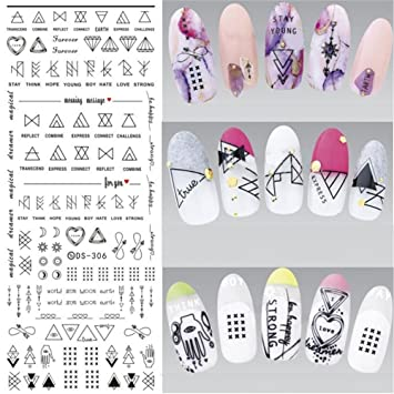 Amazon Nicole Diary Letter Nail Art Water Decals Geometric