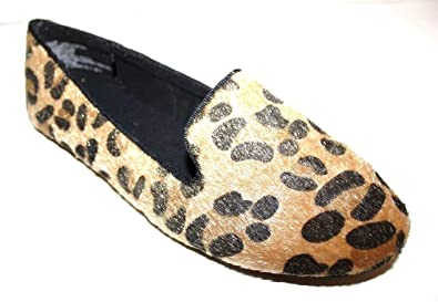 3e412f4eb0d GAP Women s Leopard Print Faux Hair Calf Smoking Flats Shoes (7 M US) Brown