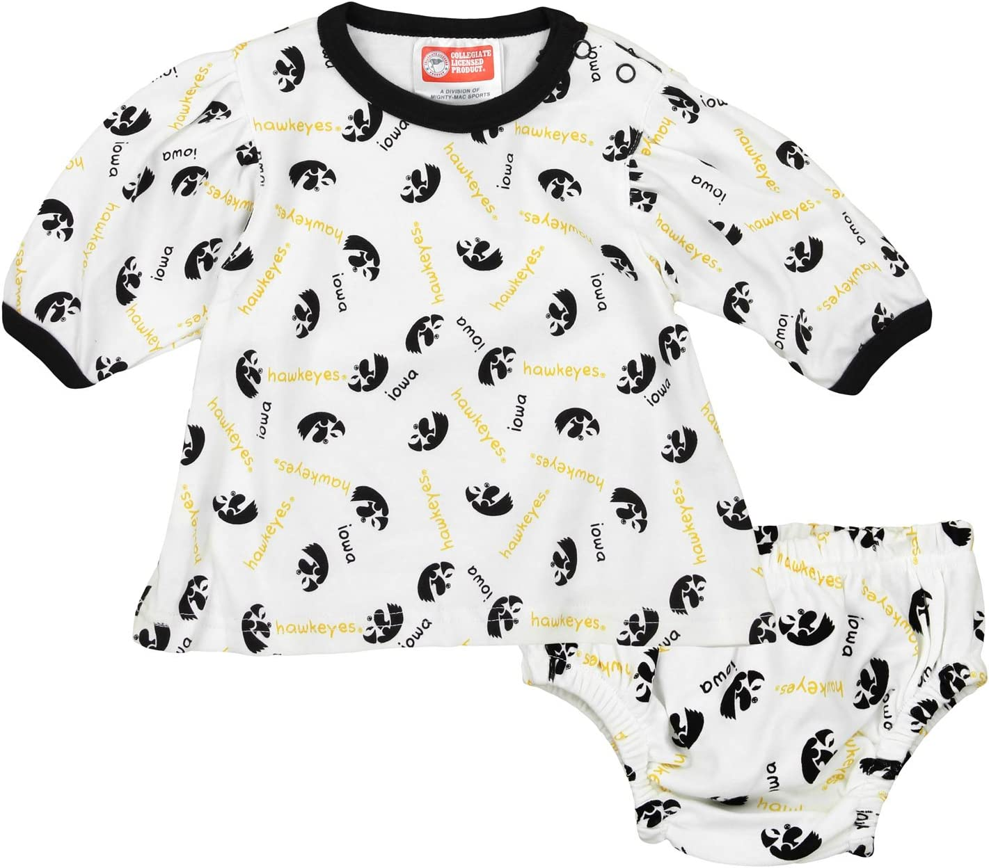 Iowa Hawkeyes NCAA Baby Girls Infant Top and Diaper Cover Set, White