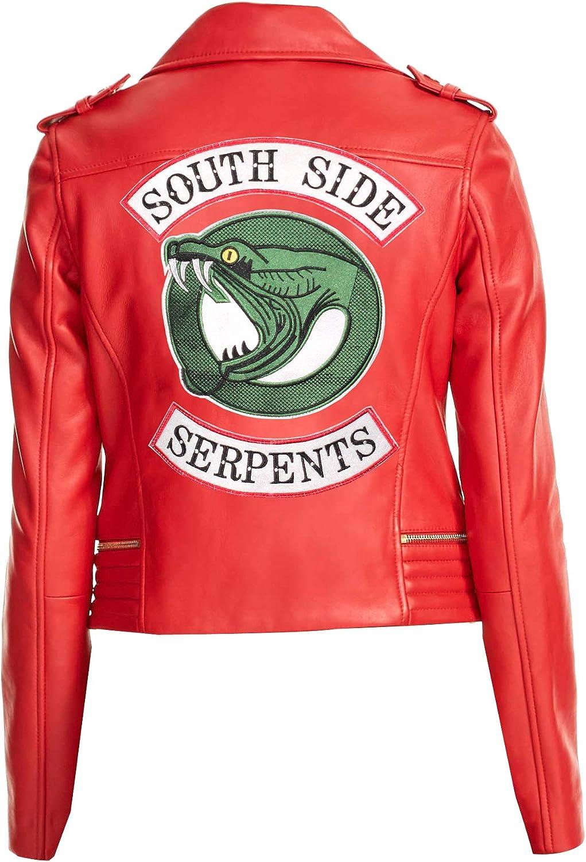 Riverdale Southside Serpents jughead jones women/'s Faux Leather Biker Jacket