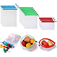 Tongke [12pack] Reusable Mesh Produce Bags Washable Eco-Friendly Bags for Grocery Shopping Storage Fruit Vegetable Toys