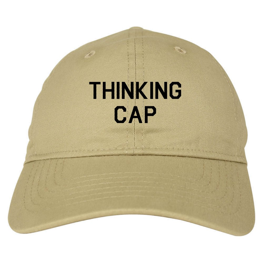 da4337c838f Thinking Cap Funny Nerd Dad Hat Baseball Cap Beige at Amazon Men s Clothing  store