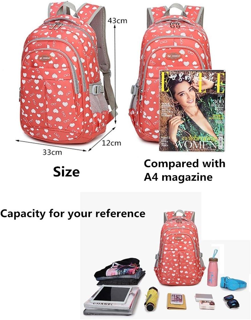 Fanci Teenager Girls Love Heart Print School Laptop Backpack Primary Junior Schoolbag Bookbag