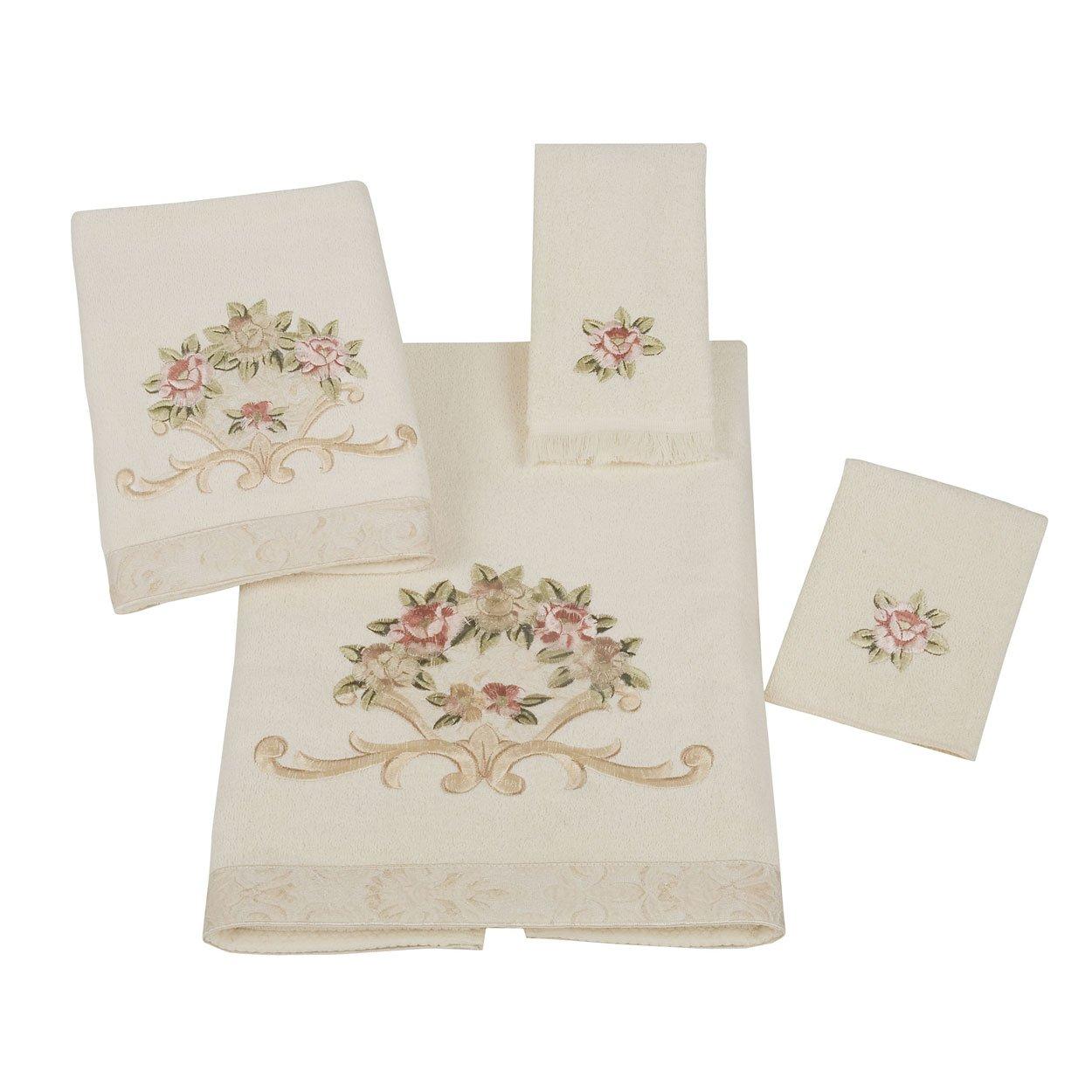 Avanti Rosefan 4-Piece Towel Set, Ivory by Avanti Linens