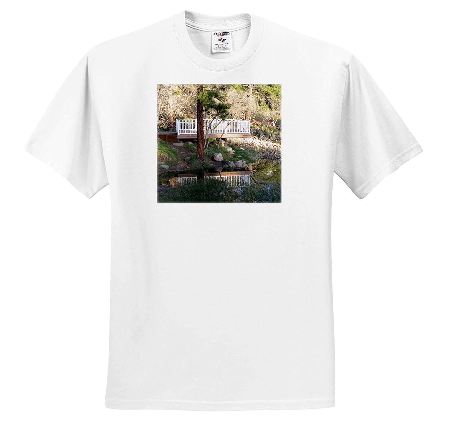 Adult T-Shirt XL ts/_319009 3dRose Jos Fauxtographee- Reflection The Dock in Dixie National Park Reflected in The Lake