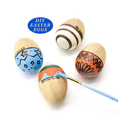 MUSICUBE 4 Pcs Easter Eggs Toys for Basket Stuffers Maracas DIY Painting Wooden Egg Shakers Toys Hand-Held Percussion Musical Instrument for Baby Toddler Easy Grip (Natural): Toys & Games