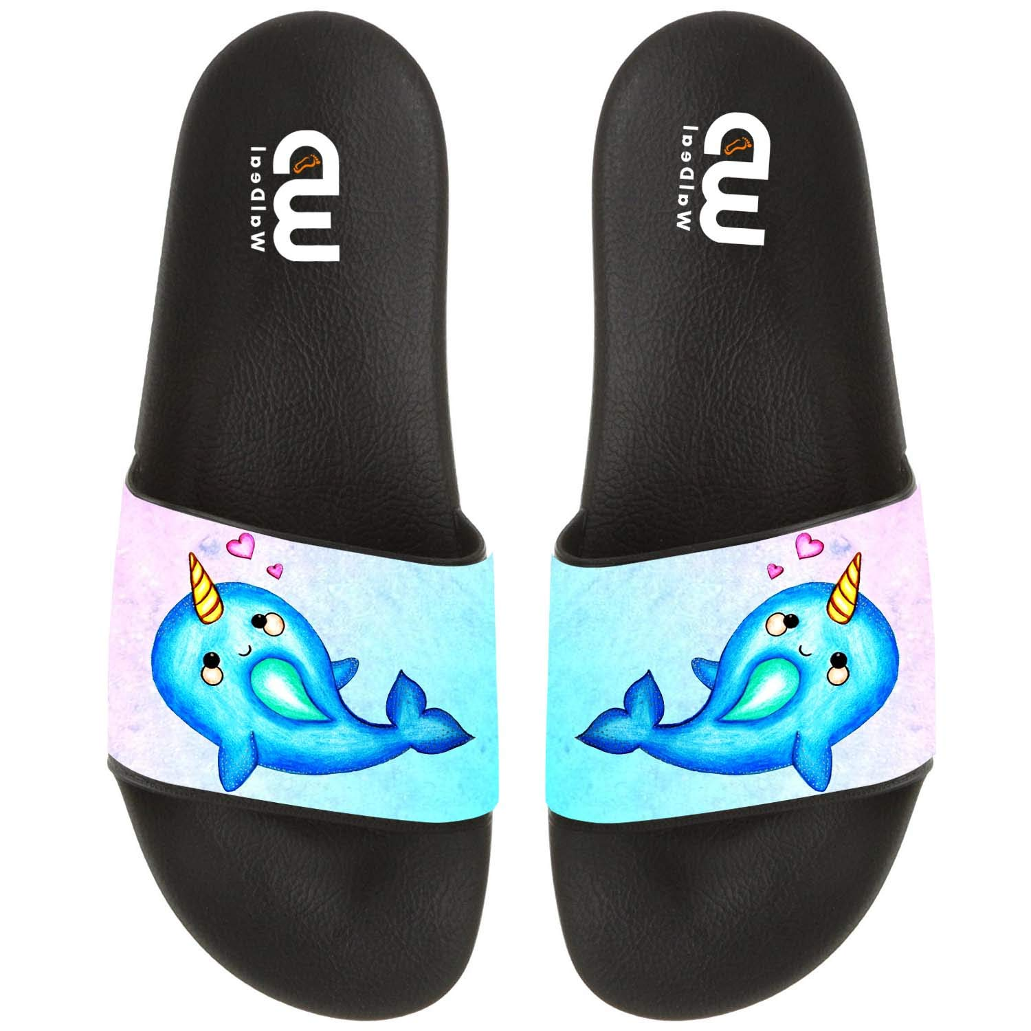 Narwhal Unicorn Heart Summer Slide Slippers For Girl Boy Kid Non-Slip House Sandal Shoes size 2