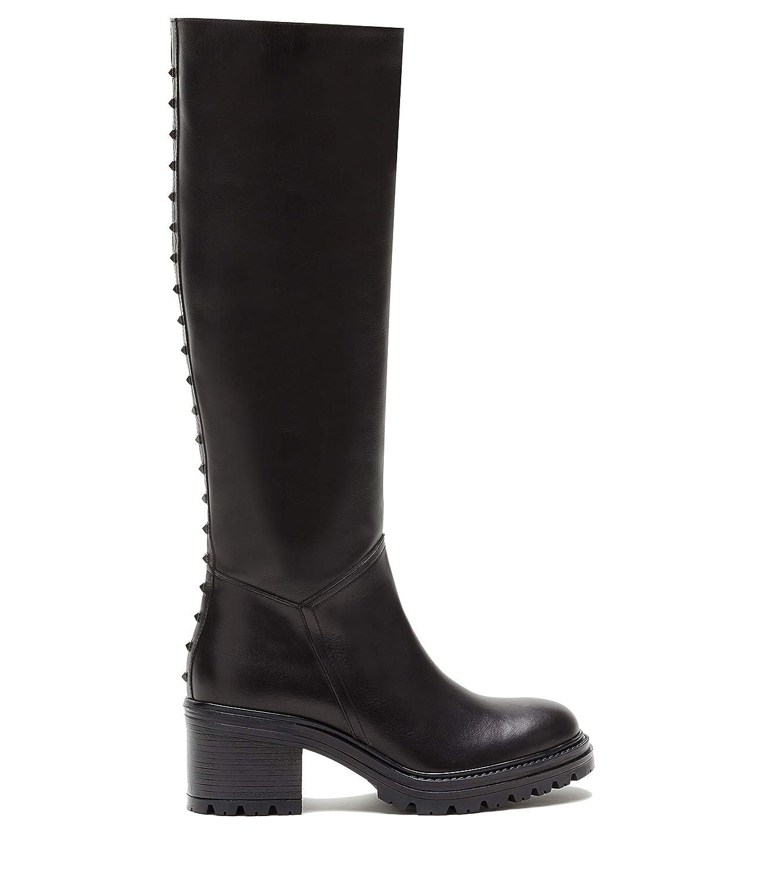Poi Lei Damen-Schuhe Langschaftstiefel Madison Schwarz Blockabsatz Leder