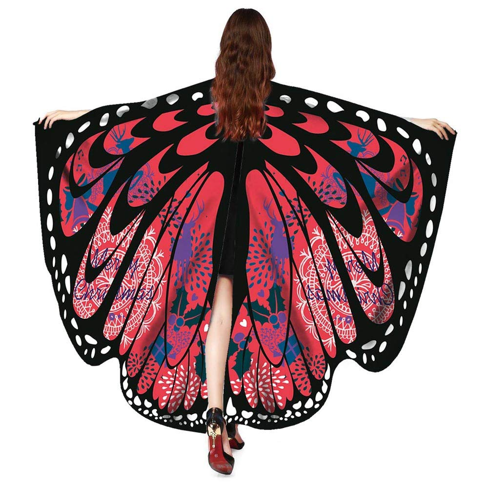 Women Christmas Butterfly Wings-Vovomay Shawl Scarves Poncho Costume Accessory (Wine)