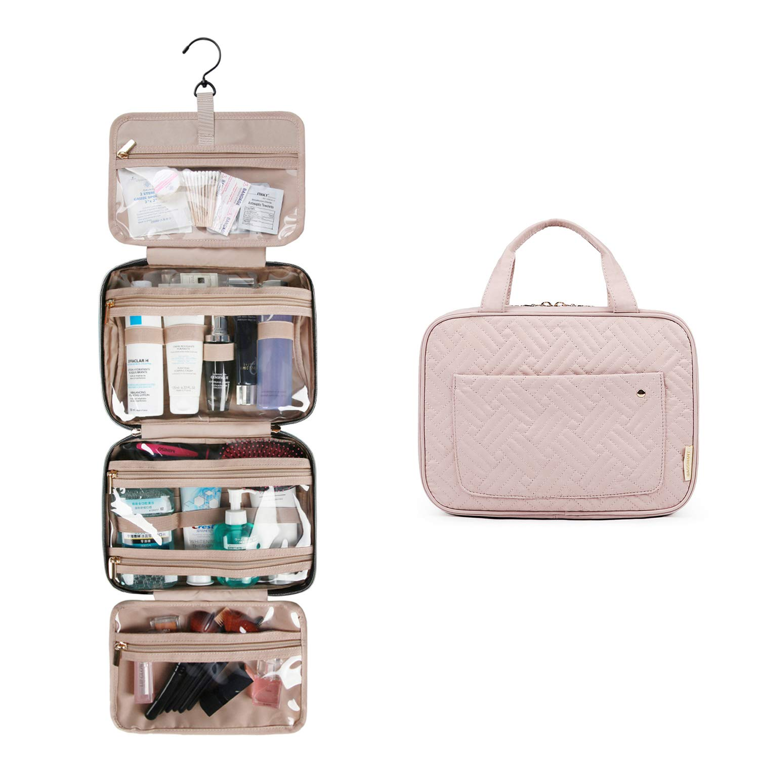 BAGSMART Toiletry Bag Travel Bag with hanging hook, Water-resistant Makeup Cosmetic Bag Travel Organizer for Accessories, Shampoo, Full Sized Container, Toiletries, Soft Pink by bagsmart