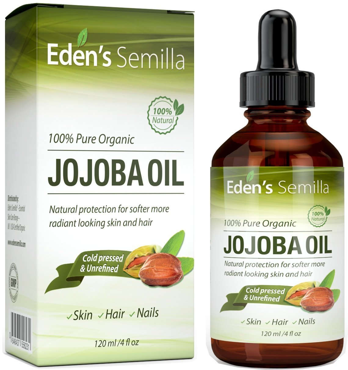 100% Pure Jojoba Oil – 4OZ – Certified ORGANIC – Best Natural Oil Moisturizer for Radiant Looking Skin, Silky Smooth Hair and Strong Nails – Ideal For Sensitive Skin