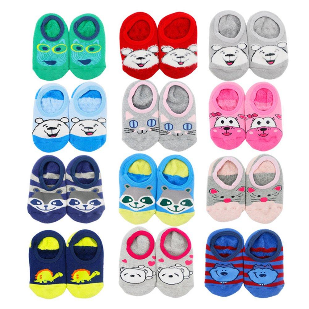 VWU 4 Pairs Baby Thick No Show Terry Socks Cute Cartoon Slipper Socks SK00007010