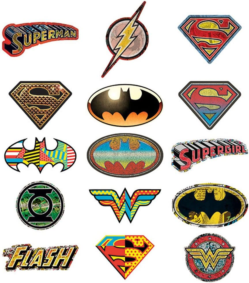 DC Comics 15 Logo Stickers - Set of 15 Batman, Superman, Wonder Woman, Flash, Green Lantern Stickers