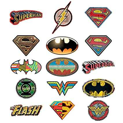 amazon com 15 dc comic logo stickers set of 15 batman superman