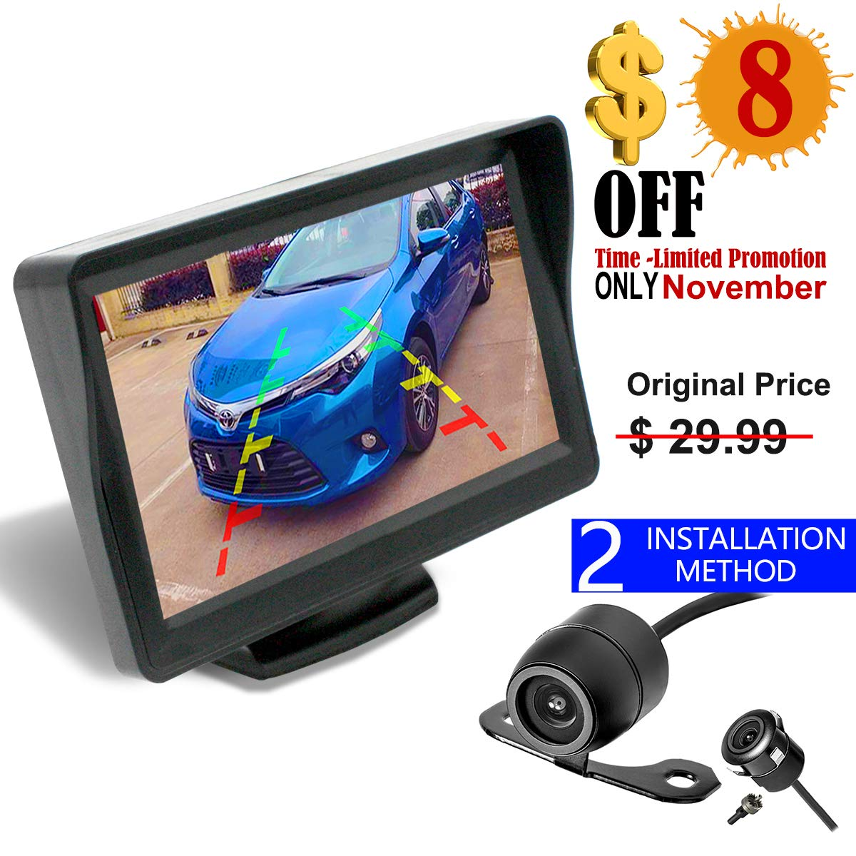 36 Month Warranty Backup Camera and Monitor Kit For Car/MPV/PICKUP/Truck/SUV, Universal Wired Waterproof Rear-view 2-installation Car Rear Backup Camera + 4.3 LCD Rear View Monitor Midcourse Electronic MC 7