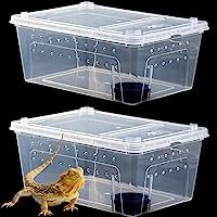Hamiledyi Reptile Snake Feeding Box Breeding Hatching Container Lizard Tarantula Habitat Turtle Transparent Portable…