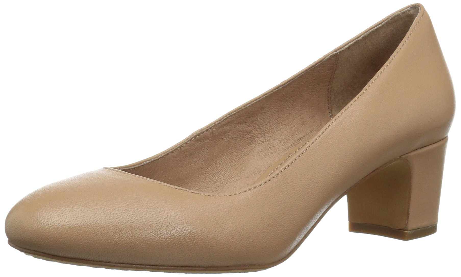 206 Collective Women's Merritt Round Toe Block Heel Low Pump, Neutral Leather, 10 B US