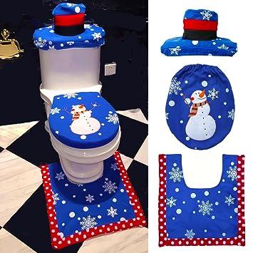 Blue Christmas Snowman Toilet Sets Mats Toilet Covers Christmas Decorations RD