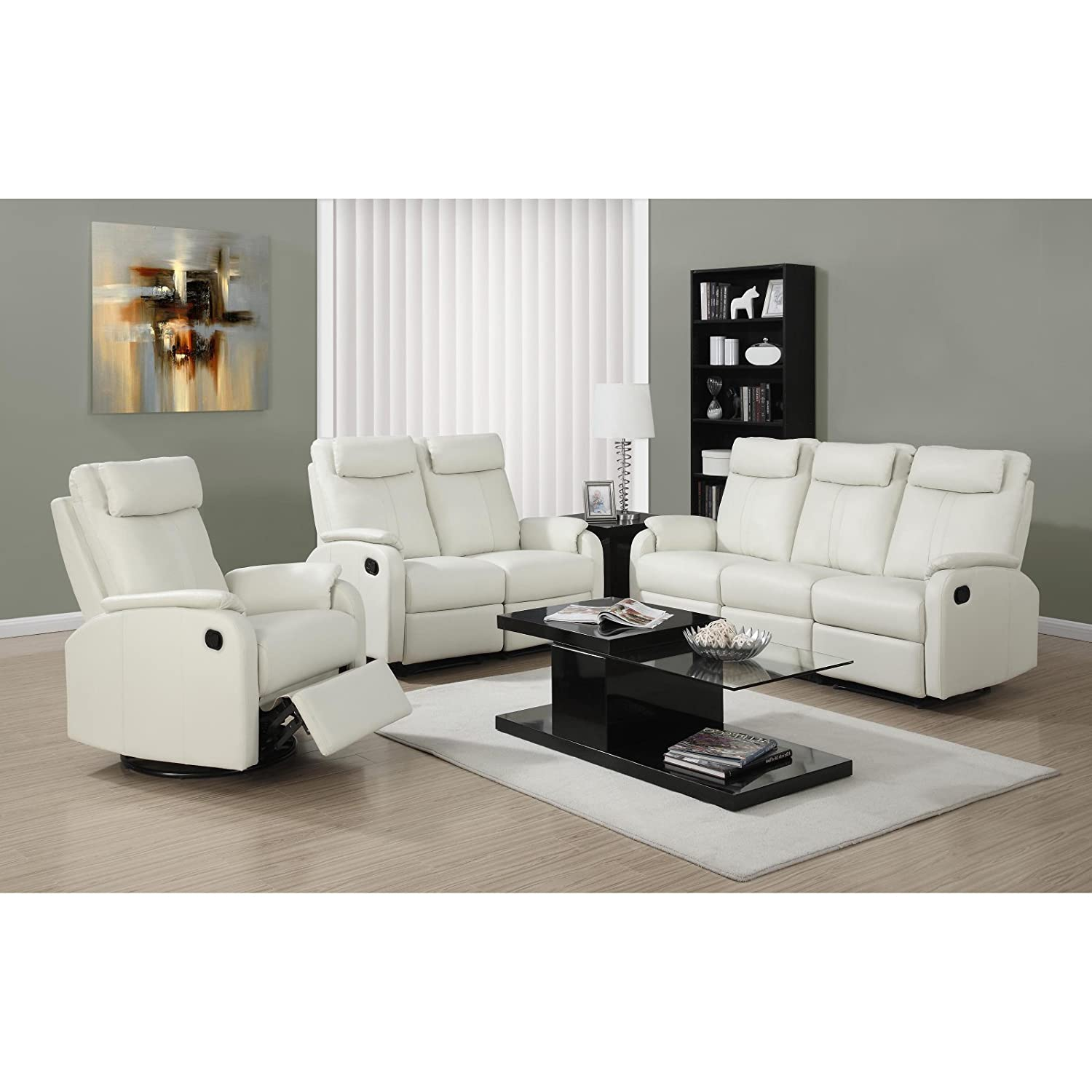 Amazon Monarch Specialties I 81Iv 3 Ivory Bonded Leather