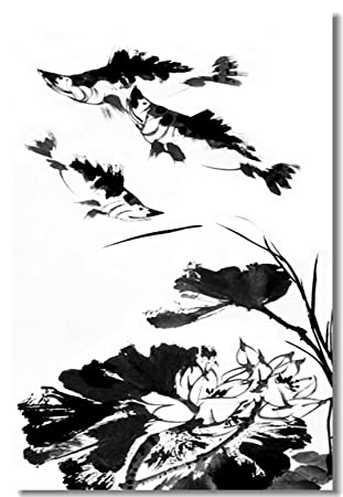 Amazon Com 1x Poster Chinese Water Ink Brush Paint Style Landscape