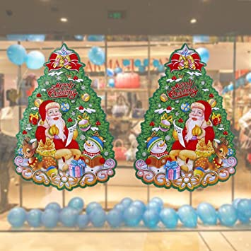 2 pack 3d decorative wall sticker christmas tree santa claus snowman gift box background