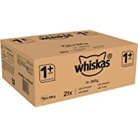 whiskas 1+ Wet Cat Food for Adult Cats, Mixed Variety in Jelly, (84 x 100 g)