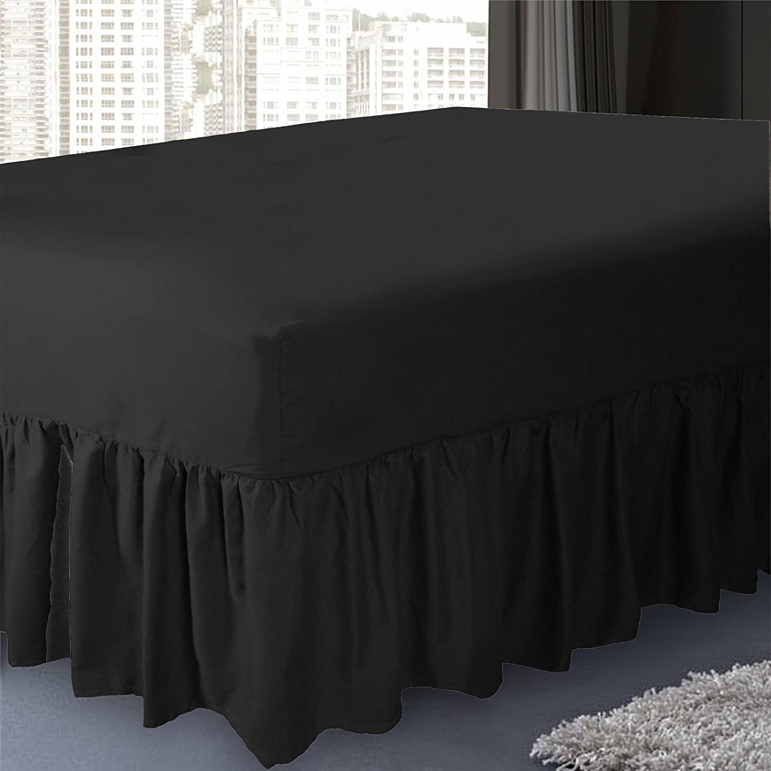 Black PolyCotton Mix 50:50 Valance Sheet By Sleep&Smile : Double Black Valance