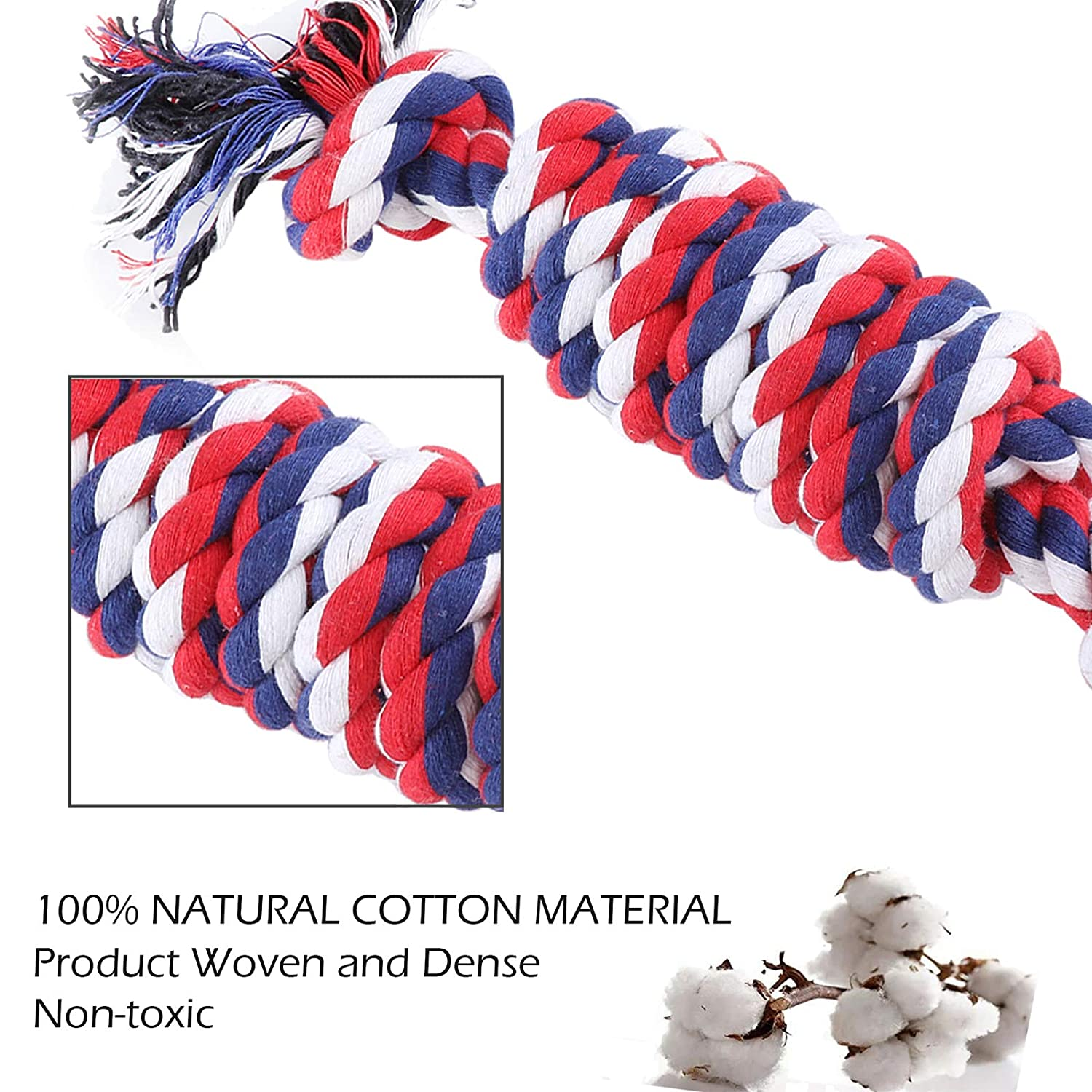 4 pieces HOKEMP Pet Rope Chew Toys Small to Medium Durable Cotton Dog Chew Toy Set Teething Cleaning Training Dog Toy