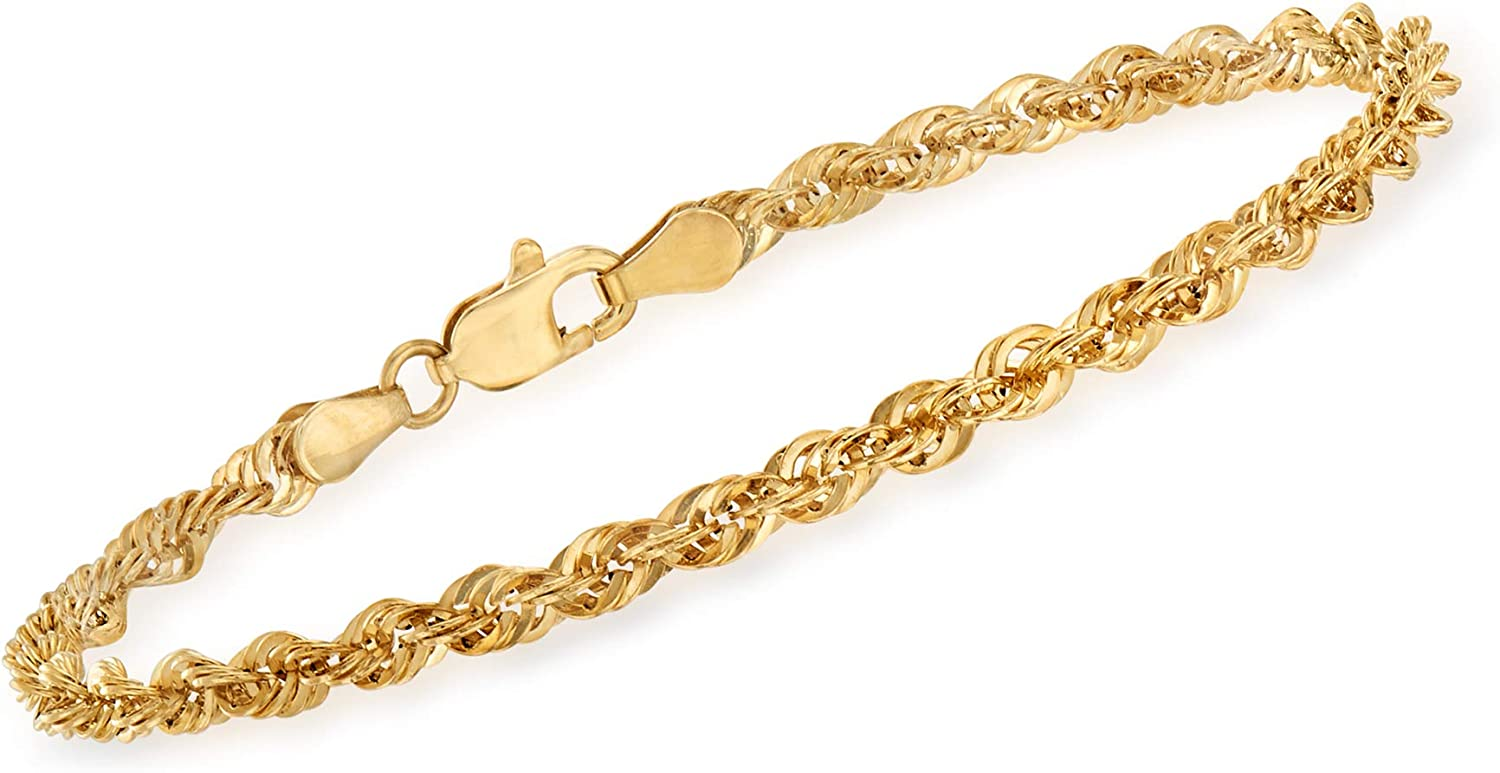 Ross-Simons Italian 14kt Yellow Gold Rope Chain Bracelet For Women 7, 8 Inch Made in Italy