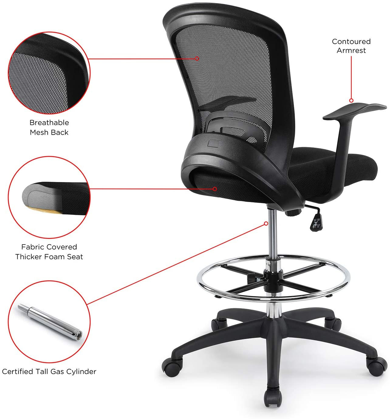 71DY3pz29XL. AC SL1500 - What Is The Best Drafting Chair For Standing Desk - ChairPicks