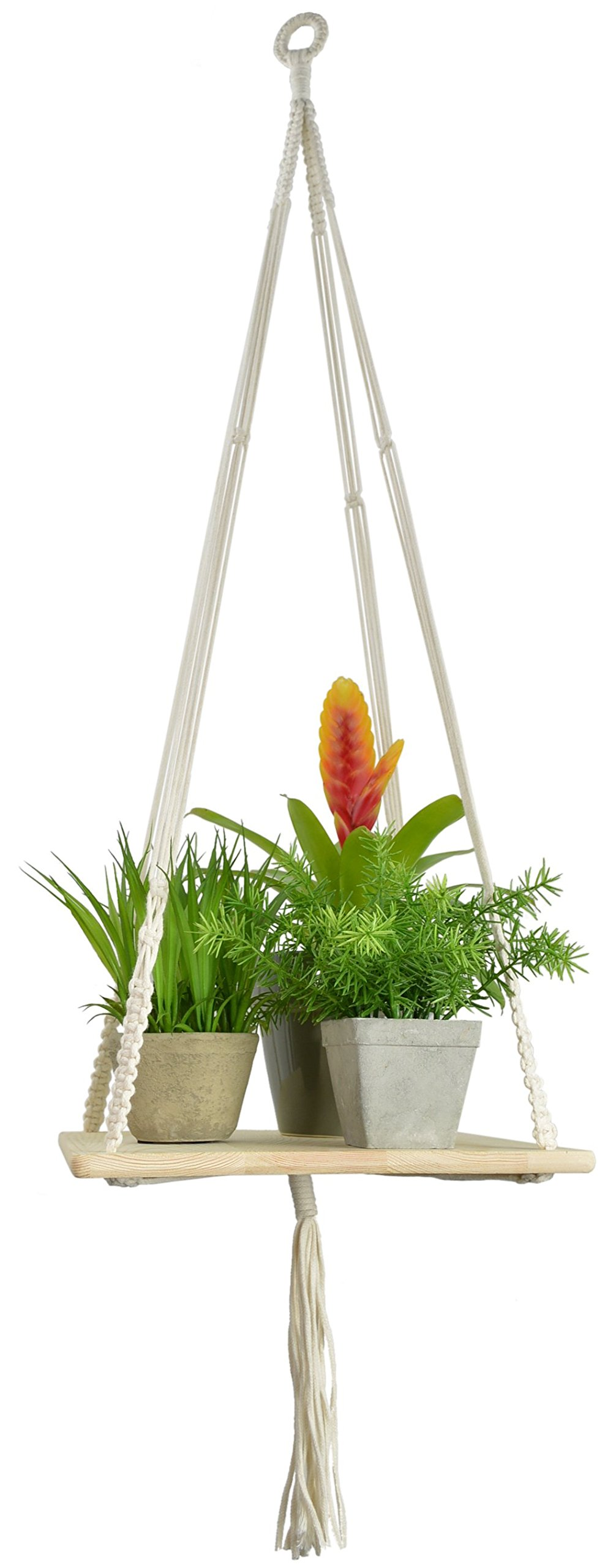 Macrame Hanging Planter with Shelf - Plant Hanger - Macrame Display Wall Hanging Shelf Swing Rope Floating Shelves Home Decor - 43 Inches (Square), By My Urban Crafts