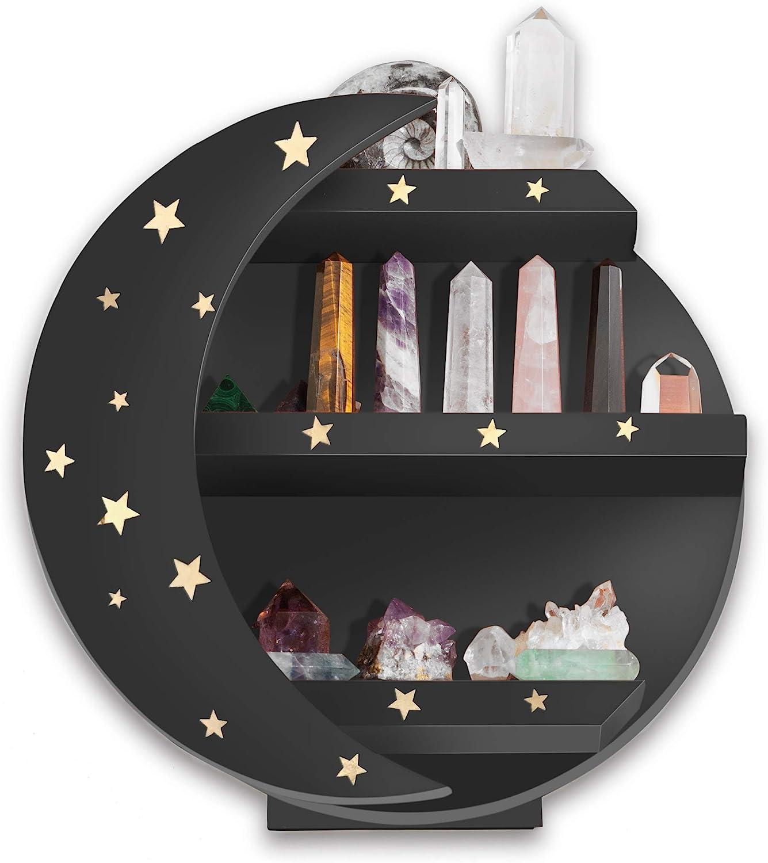 MMOBILITY CHAMAMA Black Moon Shelf with Stars, Crystal Display Shelf, Moon Shaped Shelf for Crystals, Moon Decor, Wooden Moon Shelf, Bathroom Decor, Crystal Shelf (Early American)