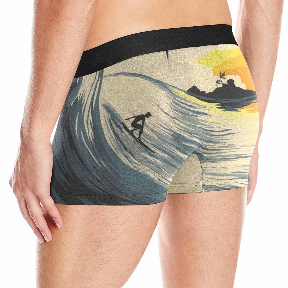 INTERESTPRINT Boxer Briefs Mens Underwear Tropical Island Wave and Surfer at Sunset XS-3XL