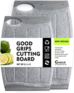 Kitchen Cutting Board 2 Pack Set with Multiple Juice Grooves! Non-Slip Plastic Cutting Board with Easy Grip Handle, BPA Free, Non-Porous, Dishwasher Safe (Gray)