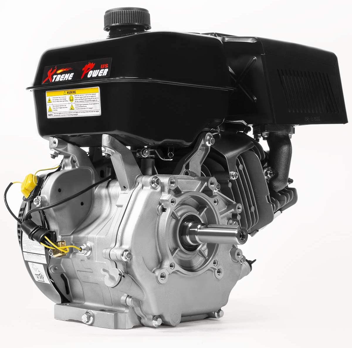 XtremepowerUS Industrial 15HP 4-Stroke Gas Engine Horizontal OHV Grade Gasoline Recoil Start Engine GoKart Log Splitter Lifan Engine EPA Carb, Black