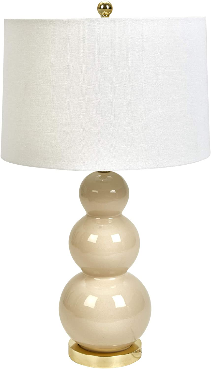 "Sagebrook Home 50045-07 Ceramic Triple Gourd Table, Cream, 30"" Lamps, Ivory/Beige"